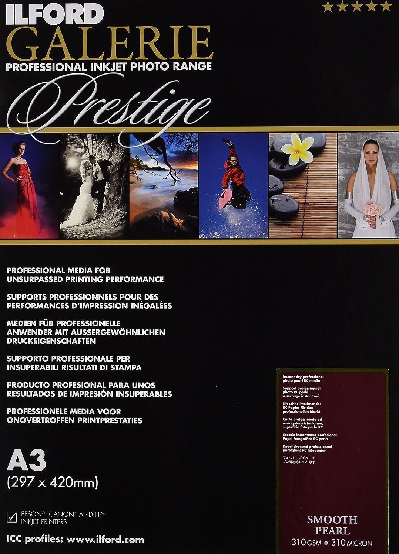 Ilford Galerie Prestige Smooth Pearl - Carta fotografica, formato A3, 310 g/m2, 25 fogli, superficie effetto perlato 2001748.0