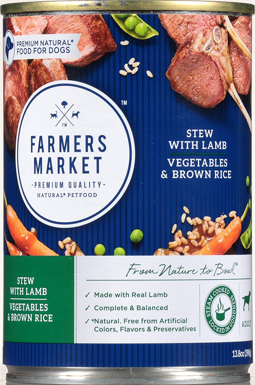 Farmers Market Pet Food Premium Natural Canned Wet Dog Food, 13.8 Oz Can, Lamb With Vegetables & Brown Rice Stew (Case Of 12)