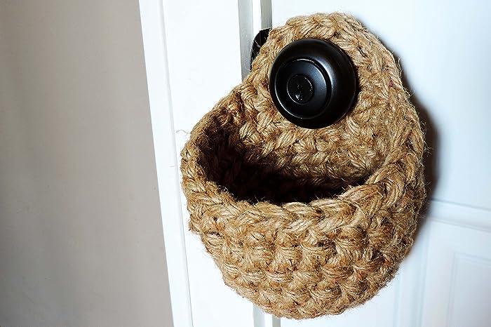 Amazon.com: Hanging Door Knob Basket - Natural Jute // Eco Friendly ...