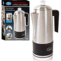 Quest 35200 Stainless Steel Cordless Electric Coffee Percolator with Integrated Filter, 1.5 Litre, 1100 W, Silver