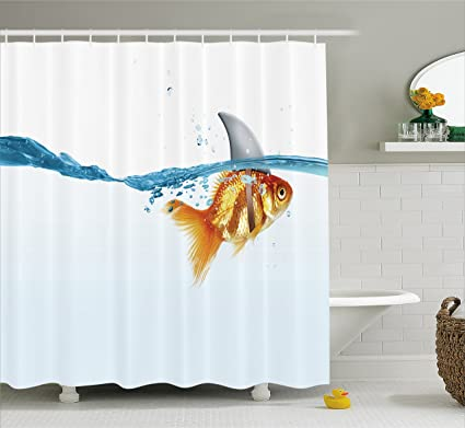Ambesonne Sea Animal Decor Shower Curtain By Goldfish In Water With Shark Fin Scary Predators