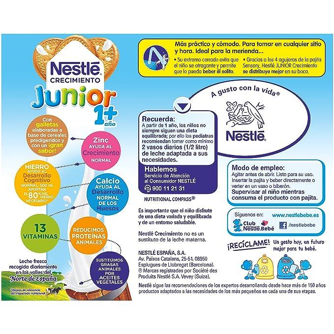 Nestlé Junior Alimento Lácteo Infantil con Galleta, Listo para Beber - Paquete de 3 x 200 ml - Total: 600 ml: Amazon.es: Alimentación y bebidas