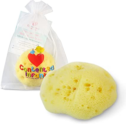 Gentle Hypoallergenic for Newborn /& Baby Bath Care by Contented Infant /® Fina Silk Sponge for Babies Real Premium Natural Sea Sponge Soft /& Fine Pored from The Mediterranean