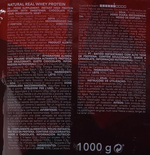 Prozis 100% Pure Real Whey Protein Powder - Suplemento de Chocolate Enriquecido con BCAAs para un Máximo Crecimiento Muscular y Recuperación - 1kg: ...