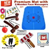 Super India Store Acupressure Power Mat with Magnets & Pyramids for Pain Relief and Total Health with 2 Wooden Face Massagers