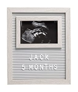 Kate & Milo Rustic Sonogram Letterboard Picture Frame, Includes 147 Letters, Photo Prop Message Board