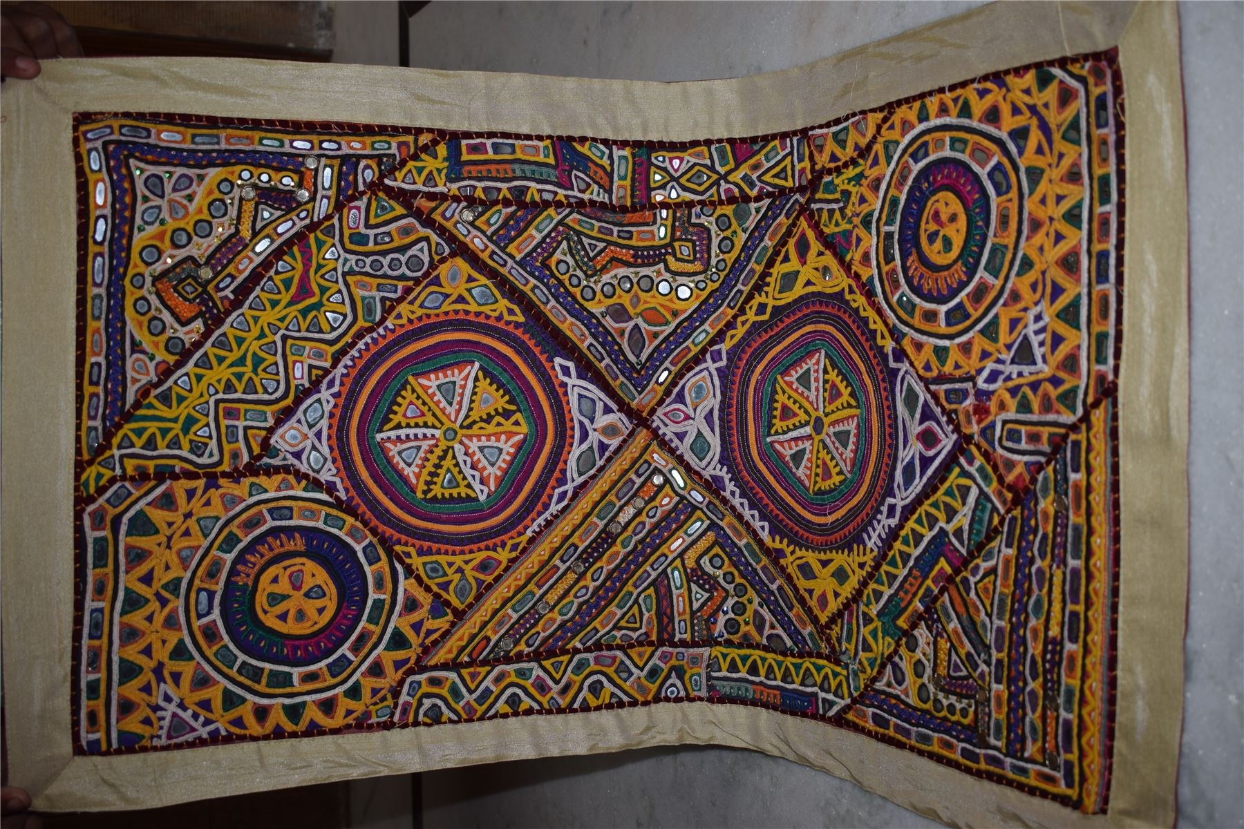 INDIA HANDMADE PATCHWORK WALL HANGING EMBROIDERED VINTAGE TAPESTRY90
