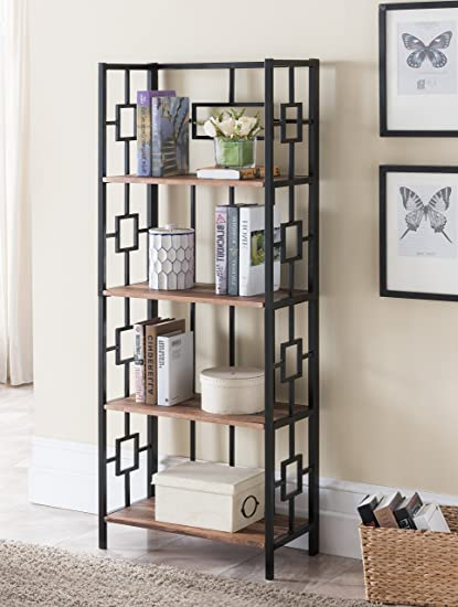 EHomeProducts 4 Tier Reclaimed Finish Metal Frame Bookcase Bookshelf Accent Display Shelf