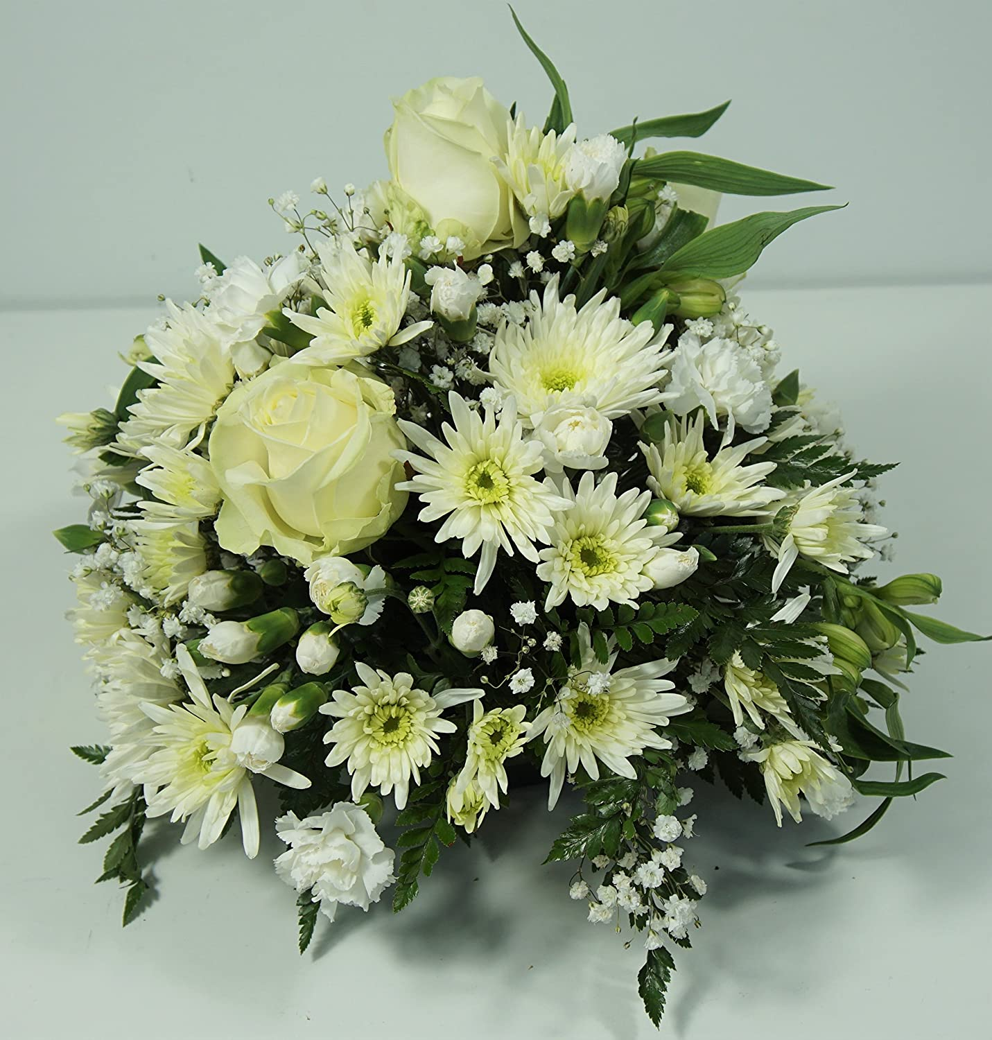 All White Funeral Flower Posy - Delivered Next Day UK FREE in 1hr TimeSlot - Floral Spray Arrangement with Handwritten Card - Send flowers for Sympathy Bereavement or Memorial Service Homeland Florists