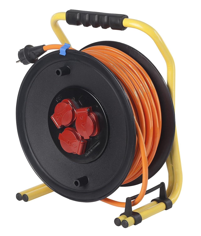 IP44 Gewerbe orange Baustelle Schwabe 20645 PROFI-Kabeltrommel 320mm/Ø 50m H07BQ-F 3G1,5 as