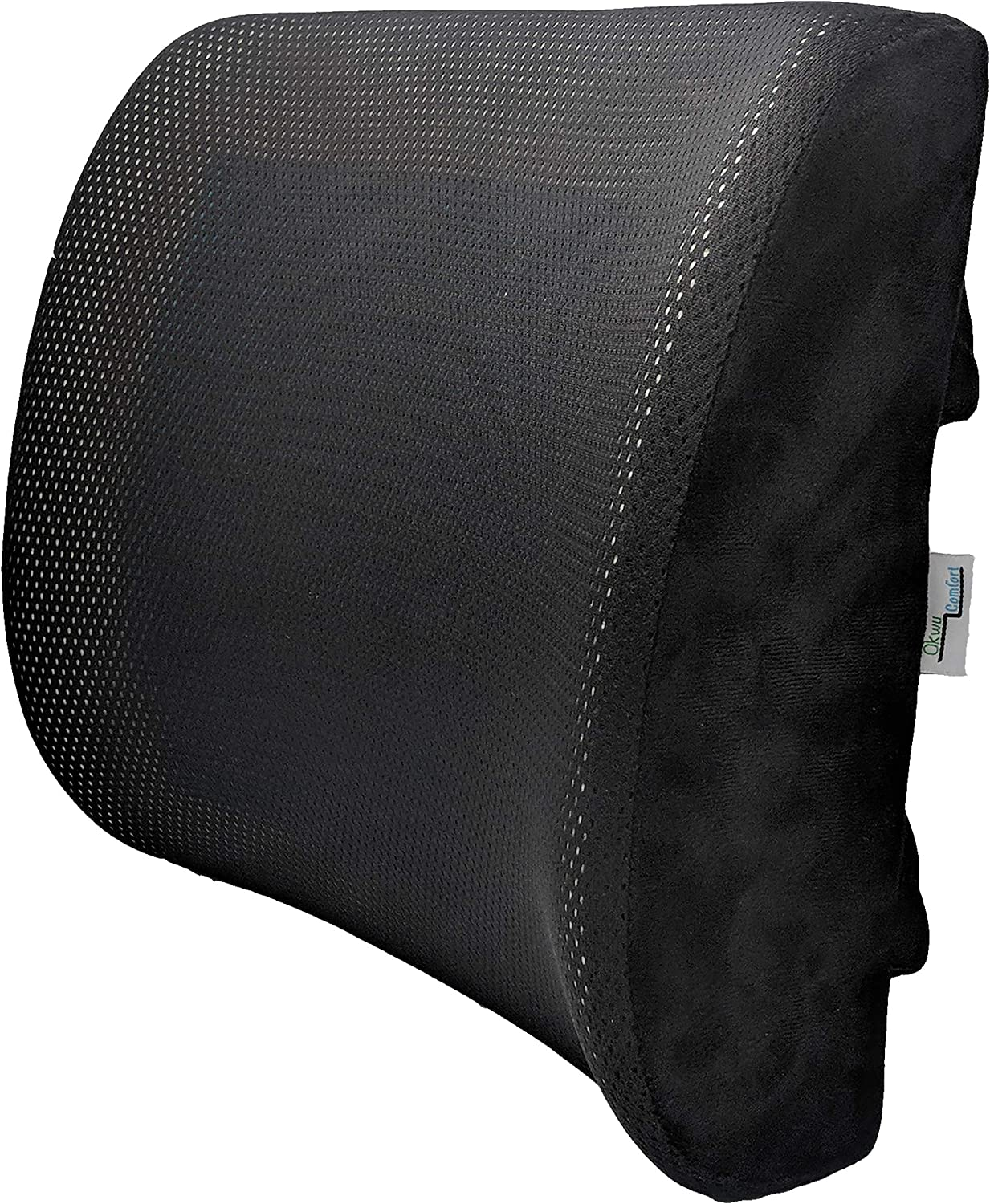Gel PAD Lumbar Back Support Pillow Cushion for Lower Pain Relief for Cars Wheelchair Chair Office Sitting Black mesh Cover