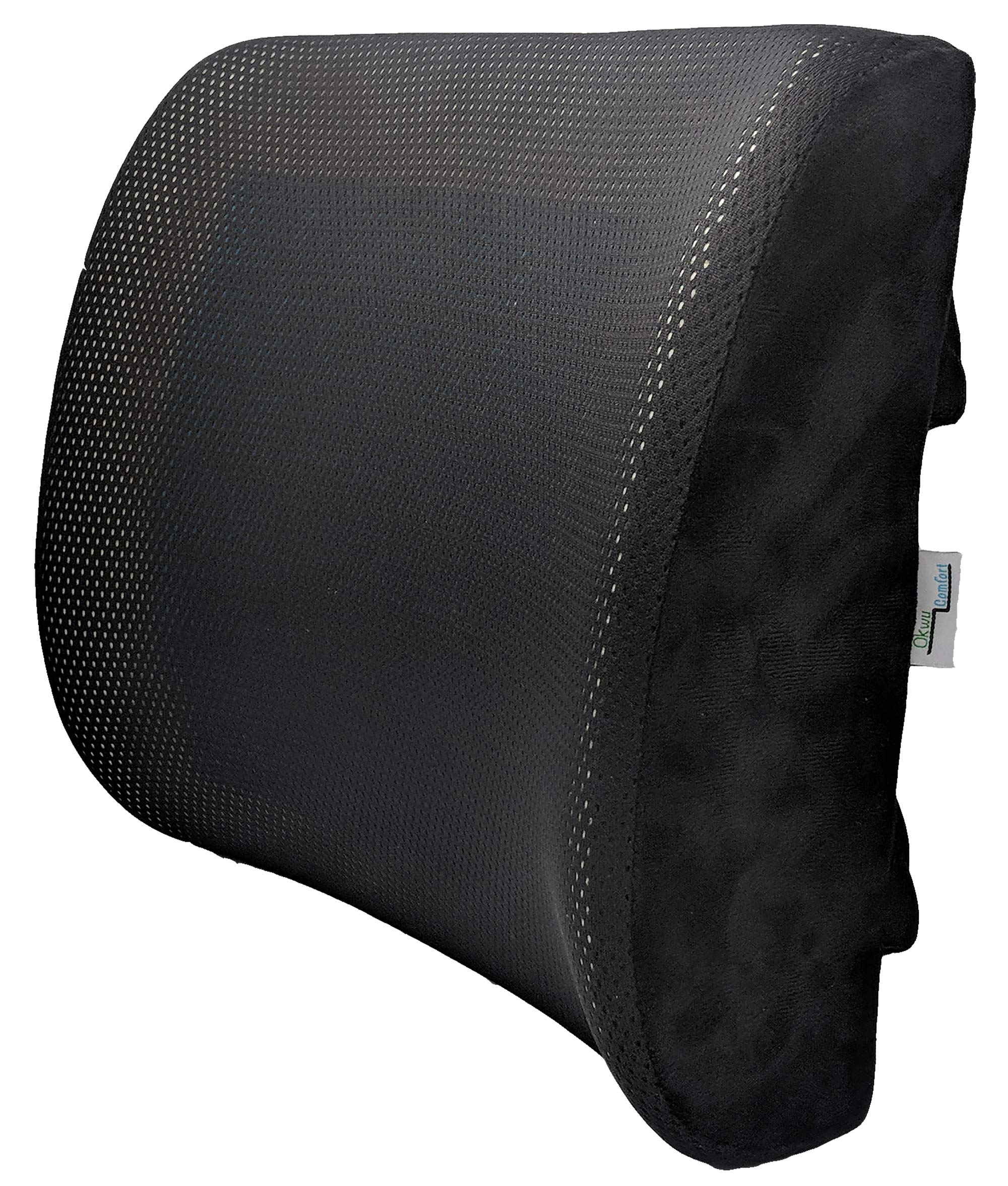 Gel PAD Lumbar Back Support Pillow Cushion for Lower Pain Relief for Cars Wheelchair Chair Office Sitting (Black mesh Cover)