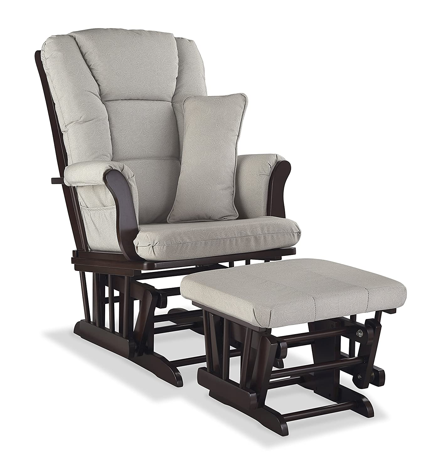 Storkcraft Tuscany Custom Glider and Ottoman with Free Lumbar Pillow, Espresso/Grey Stork Craft 06554-589
