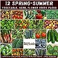 Mixed Spring Summer 800+ Heirloom Seeds Vegetable HERB Flower Garden 12 pks Bulk
