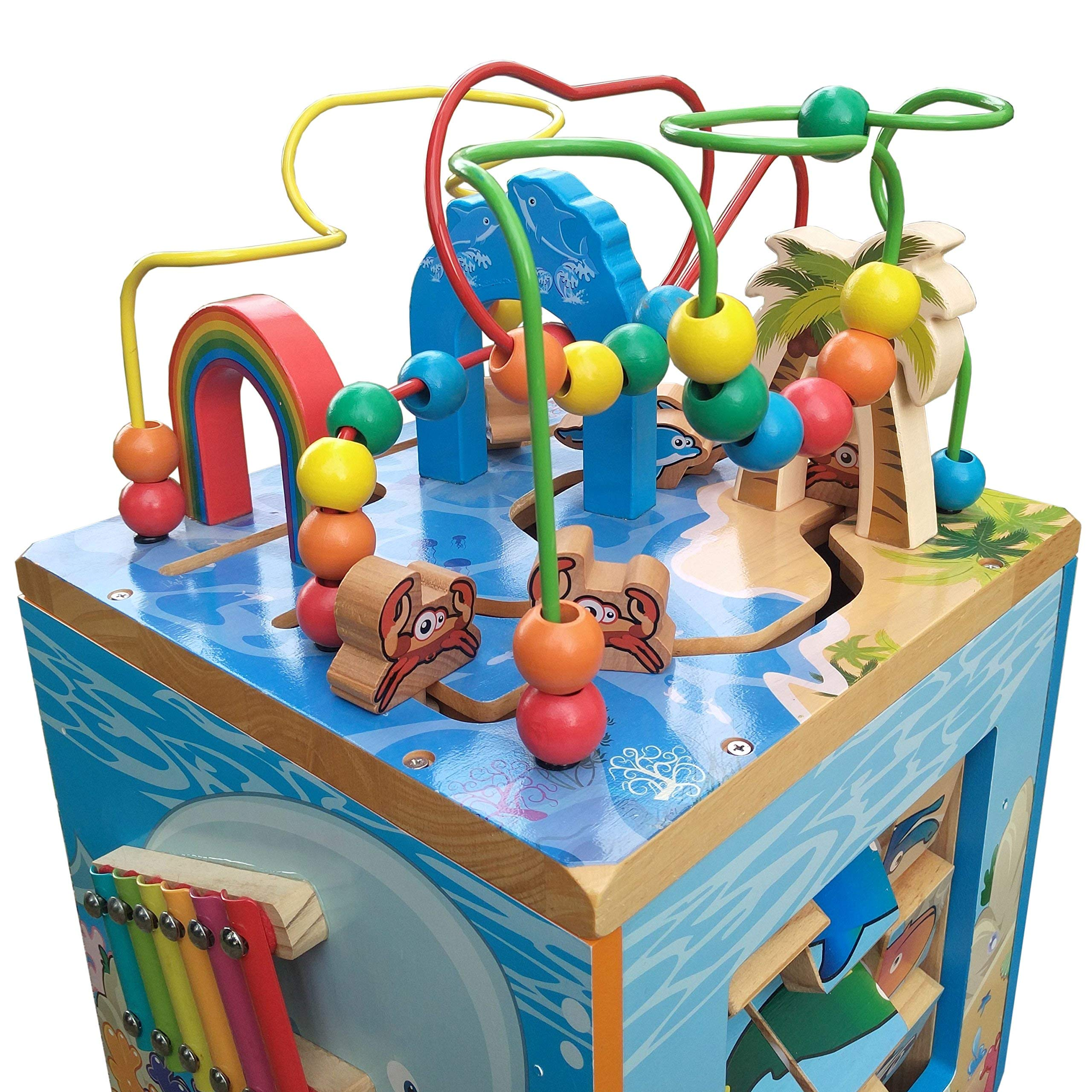 Under The Sea Adventures, Deluxe Activity Wooden Maze Cube - Perfect for Kids Play, Musical Activity, and Toddlers Early Developmental Skills by Pidoko Kids (Image #2)