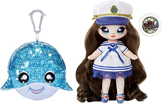 """MGA Entertainment Na! Na! Na! Surprise 2-in-1 Fashion Doll and Sparkly Sequined Purse Sparkle Series – Sailor Blu, 7.5"""" Sailor Doll"""