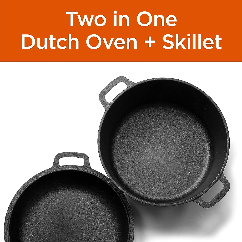 Commercial Chef Seasoned Cast Iron 5 Quart Dutch Oven w Skillet Lid