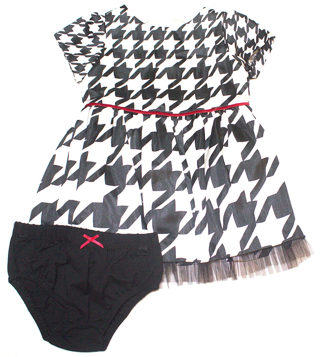 7381d6cf683 Amazon.com  Hartstrings Baby Girls  Houndstooth Shantung Dress and Diaper  Cover Set  Clothing