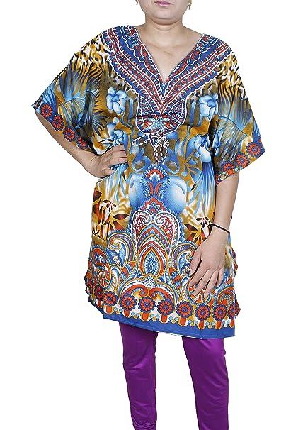 Mujeres Vestido Con Manga Larga Cuello Ancho Mini Dress Camiseta corta Kaftan Túnica Viscosa