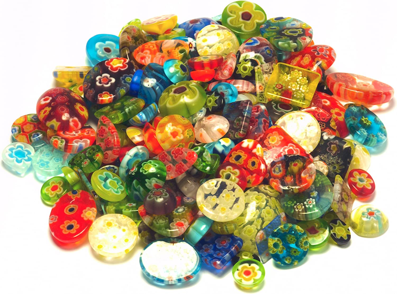 Perlas de Cristal, Perlas de Cristal Millefiori, Cristal Perla Mix, 100g, mezcla de perlas de cristal, perlas de perlas para manualidades infantil, joyas perlas, Mille Fiori perlas