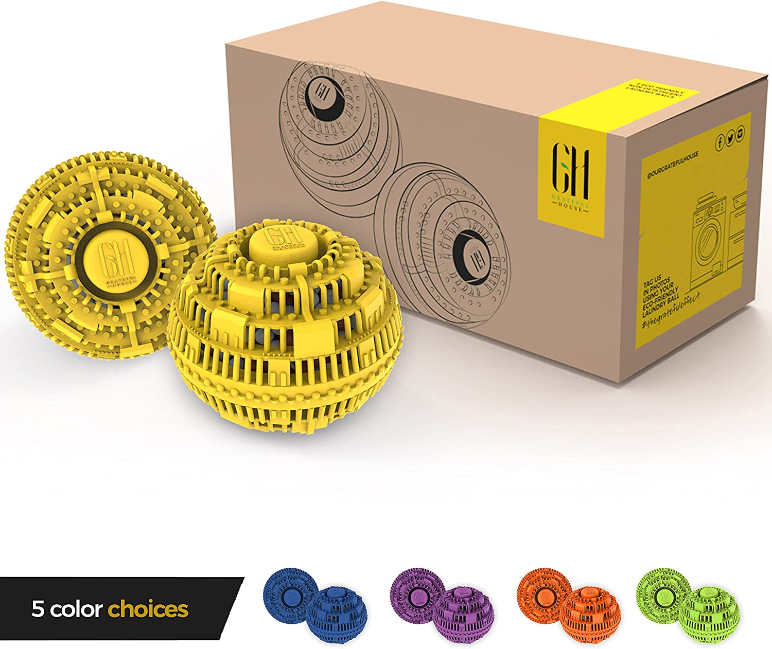 Grateful House Offer a Premium Quality Chemical Free Set of 2 Eco Friendly Laundry Balls. Never use Harsh Chemical and toxins Again with This Incredible Non Detergent Laundry System. (Yellow)