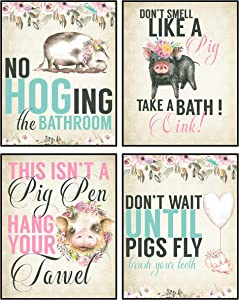 Silly Goose Gifts Hogs Pig Piggy Art Print Watercolor Design Wall Decor Set (Bathroom Set)
