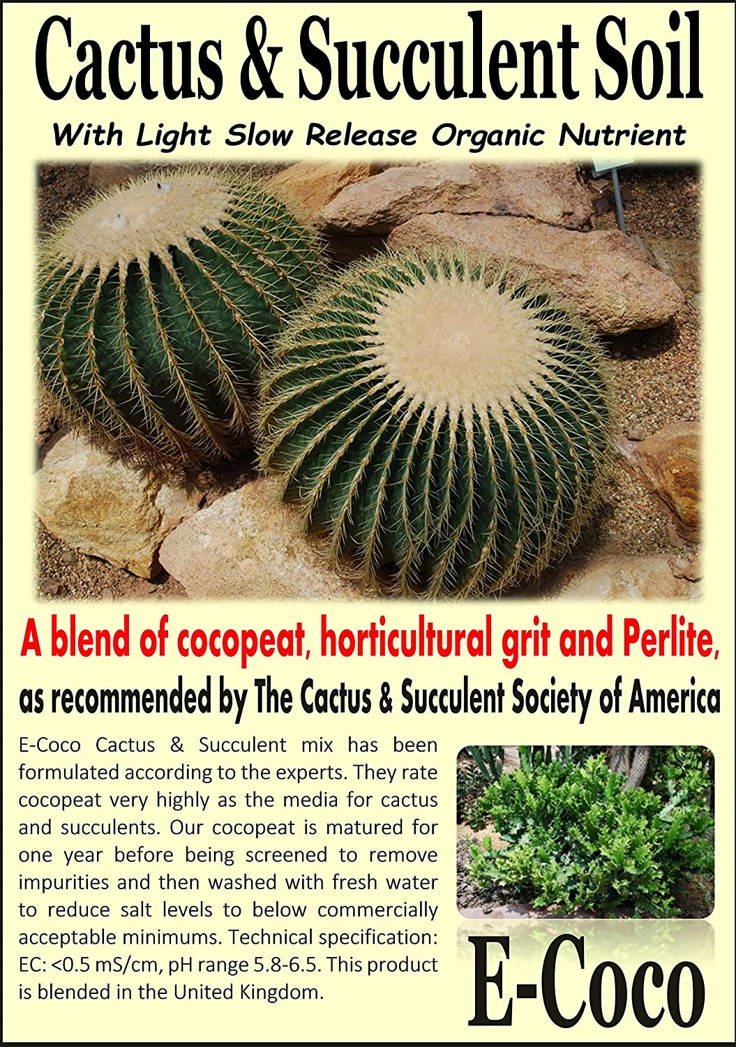 CACTUS & SUCCULENT COMPOST - CACTI SOIL WITH PERLITE FOR REPOTTING CACTI & SUCCULENTS PLANTS (1 LITRE) E-Coco Products UK