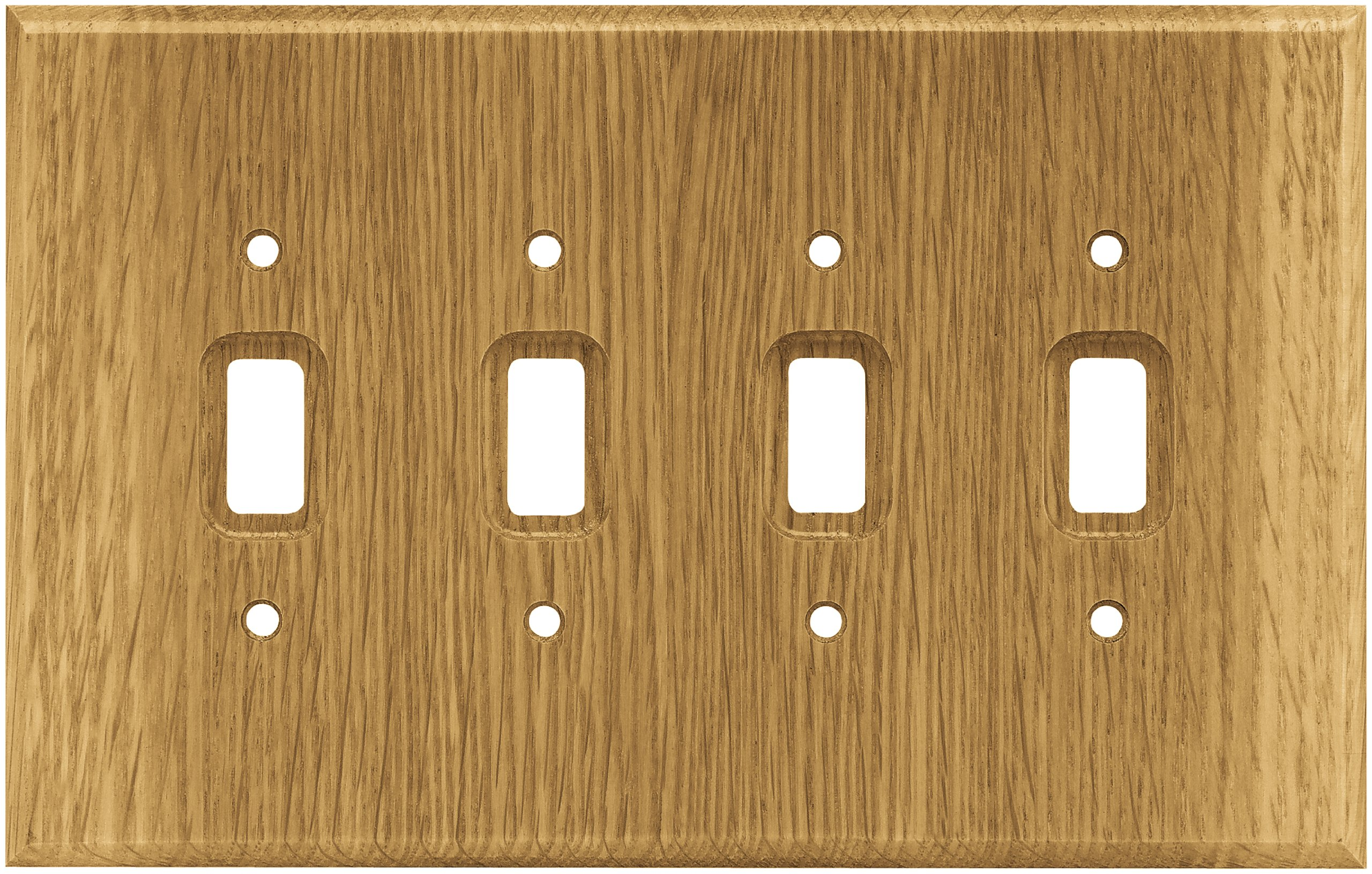 Brainerd 126431 Wood Square Quad Toggle Switch Wall Plate / Switch Plate / Cover, Medium Oak