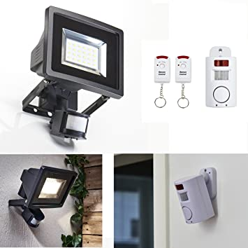 Security Package compuesto de alarma y foco con detector de movimiento