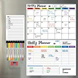 Hivillexun Dry Erase Calendar Whiteboard. Set of 3 Magnetic Calendars for Refrigerator, Monthly, Weekly Organizer & Daily Not