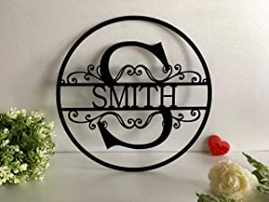 Personalized Last Name Family Sign Outdoor Initial Split Letter Laser Cut Custom House Decorations Monogram Hanging Front Door Wreath Wedding Gift Hanger Garden Housewarming Circle Wood Metal Acrylic