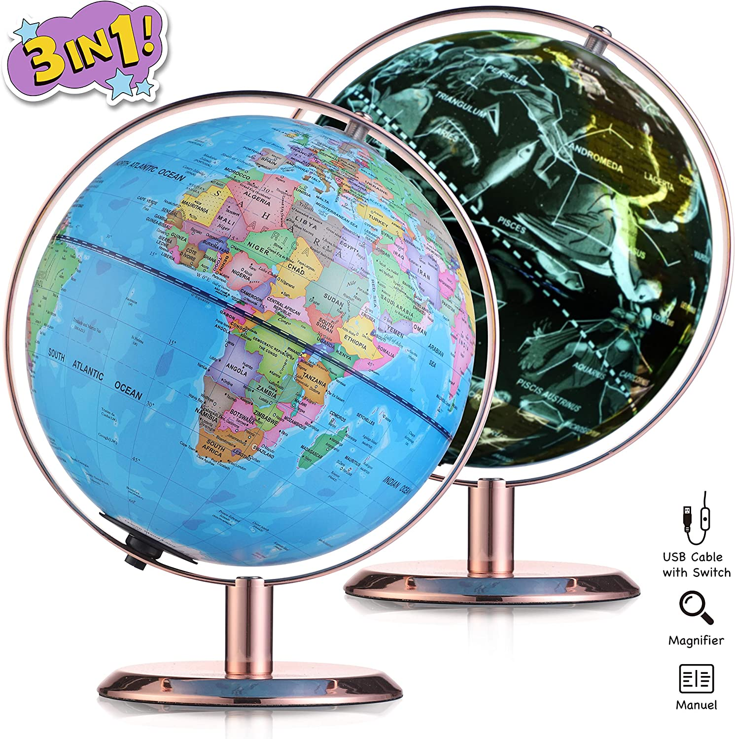 Globe for Kids, 8 Inch Illuminated Led 3 in 1 Desktop Geographic Constellation Educational Discovery World Map Globes for School Child Adults, Anti-Fall Globe with Silver Plated Stand (Rose Gold)