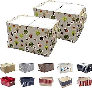 Queenie: 2 Pack Collapsible Fabric Storage Basket Home Organizer and Sizes (Cartoon, 35 x 25 x 17 cm (13.75 x 9.75 x 6.75 Inch))
