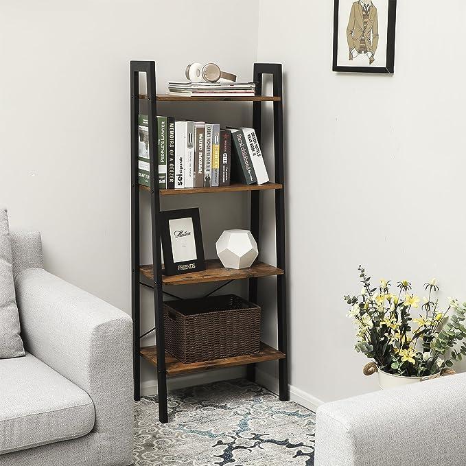 VASAGLE Estantería Escalera, Librería de 4 Niveles, Esatentería de Esquina para Sala de Estar, Dormitorio, Cocina, Vintage LLS44X: Amazon.es: Hogar