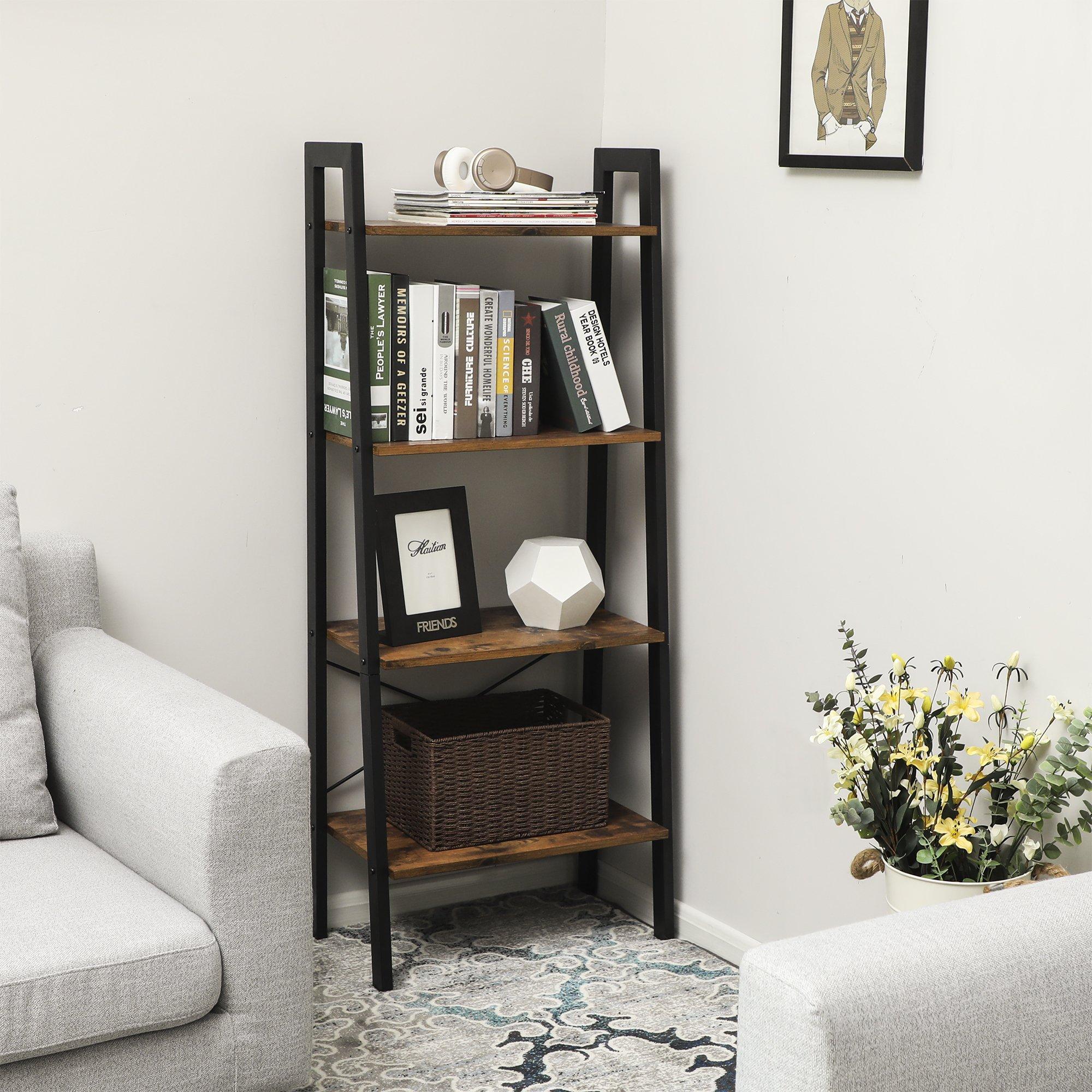 SONGMICS 4-Tier Ladder Shelf Bookcase Garden Bathroom ...