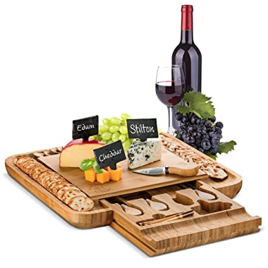 Bambusi Cheese Board with Cutlery Set - Premium Bamboo Serving Charcuterie Tray | Includes 4 Utensils, 3 Name Labels, and 2 Chalk Markers | Perfect Birthday Gift, Housewarming and Wedding Present