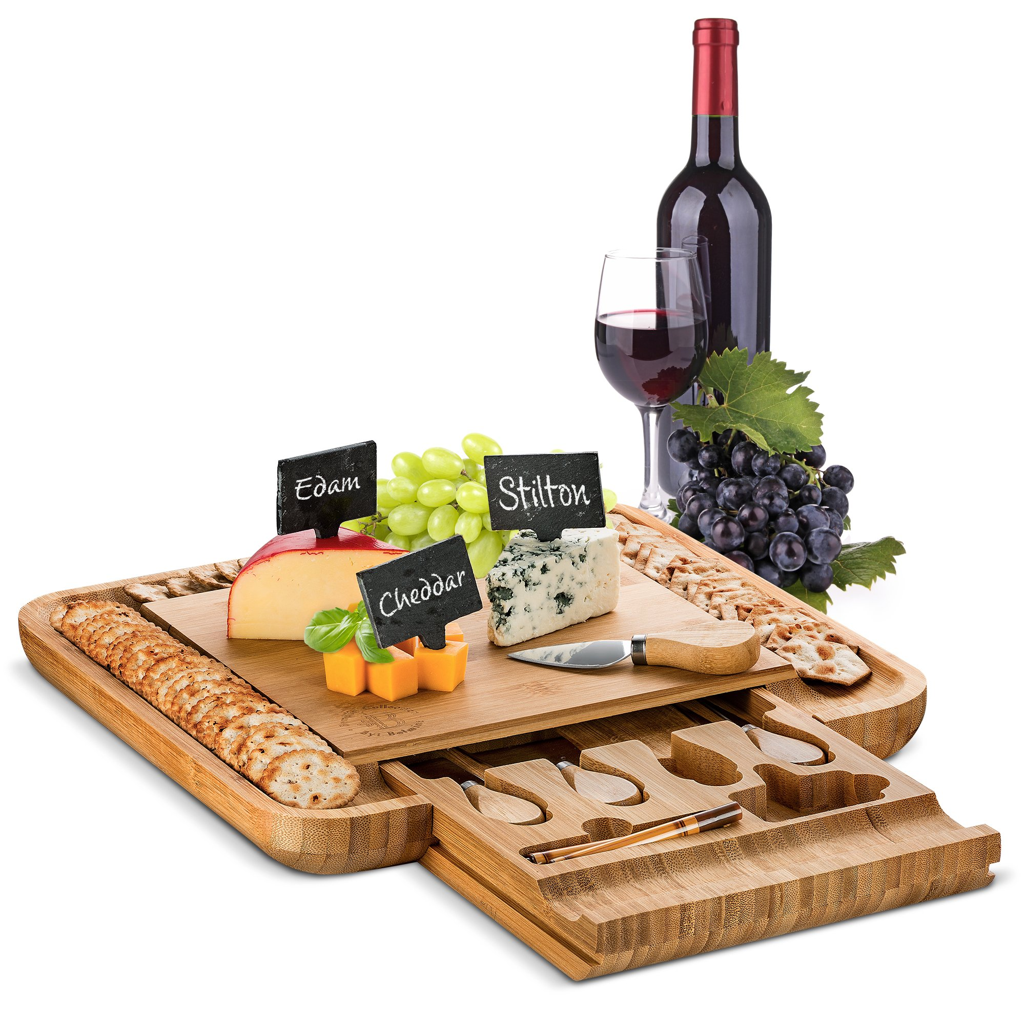 Bamboo Cheese Board with Cutlery Set, Wood Charcuterie Platter and Serving Meat Board with Slide-Out Drawer with 4 Stainless Steel Knife and Server Set - Includes 3 Label, Chalk and Slate. By Bambusi