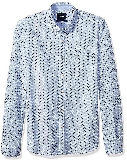 Mens Scotch and Soda slim fit long sleeve printed  shirt BLUE 137699