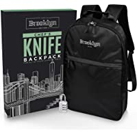 Chef Knife Bag (21+ Knife Slots) Includes Padlock, Backpack Style Straps, PLUS Honing Steel Slide, Zippered Tool Pouch…