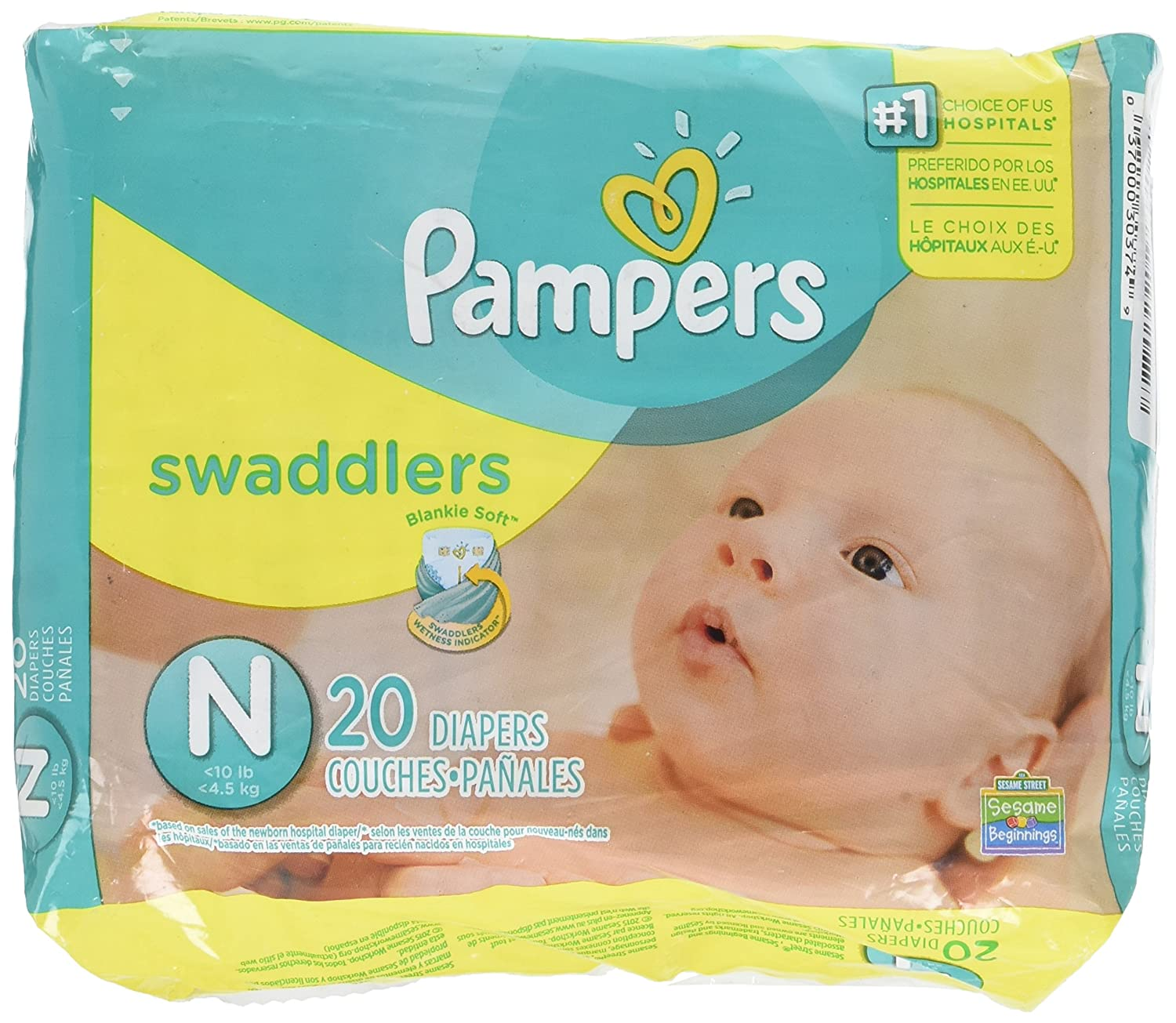 532b2442396 Amazon.com : Pampers Swaddlers Diapers, Newborn (Up to 10 lbs.), 20 Count :  Other Products : Baby