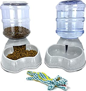 Pet Fit For Life Dog Automatic Dispenser Food-Water Bottles Combo - Gravity Powered Feeder and Water Station for Dog and Puppy with Bonus Plush Alligator Squeak Toy