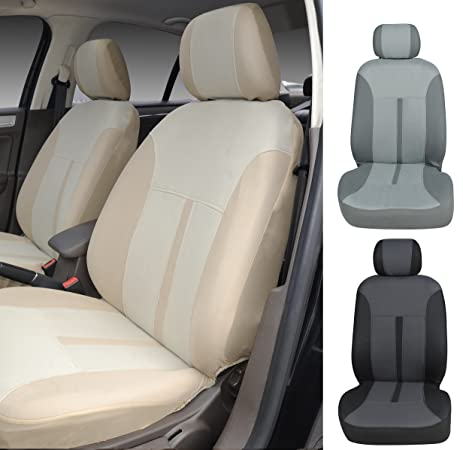 N16103 Tan Fabric 2 Front Car Seat Covers Compatible To Mercedes Benz C
