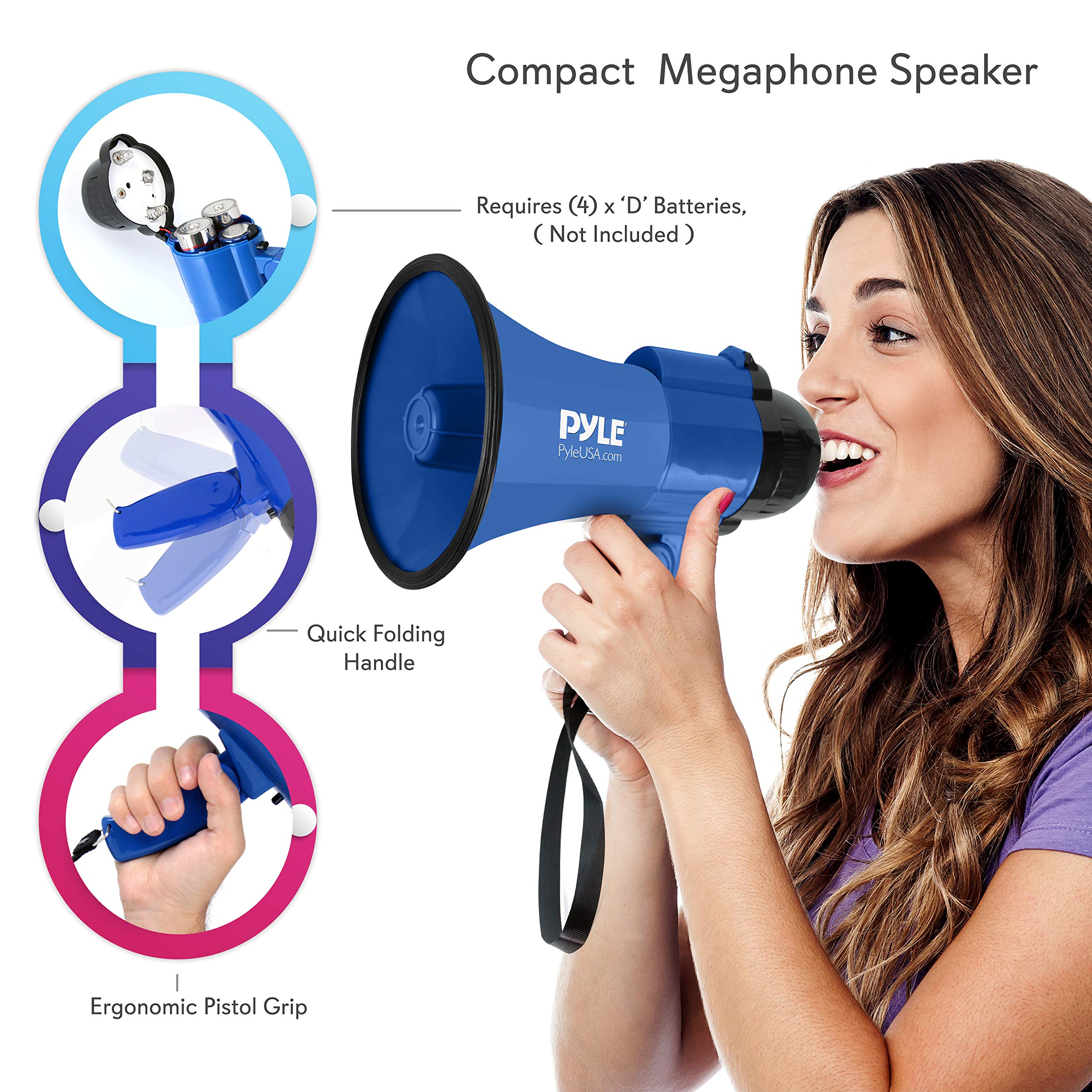 Portable Megaphone Speaker Siren Bullhorn - Compact and Battery Operated with 30 Watt Power, Microphone, 2 Modes, PA Sound and Foldable Handle for Cheerleading and Police Use - Pyle PMP31BL (Blue) by Pyle (Image #3)