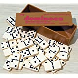 Dominoes- double six, plastic,black spots,spinners-00121