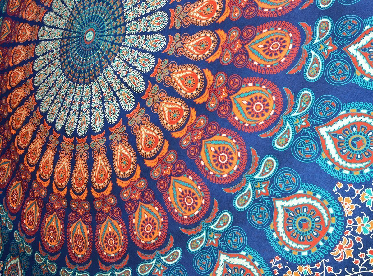 Tapestry Queen hippie Flower Beautiful Artwork wall decor Mandala Beach BedSpread Intricate Indian Bedspread Tapestries 92x82 Inches Aakriti Gallery (Blue Peacock)