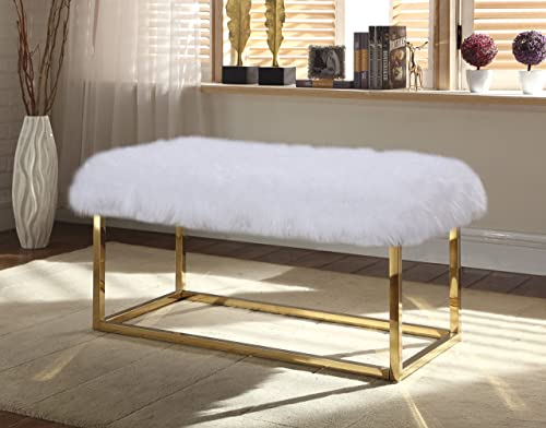 Iconic Home Marilyn Bench Ottoman Faux Fur Brass Finished Stainless Steel Metal Frame, Modern Contemporary, White