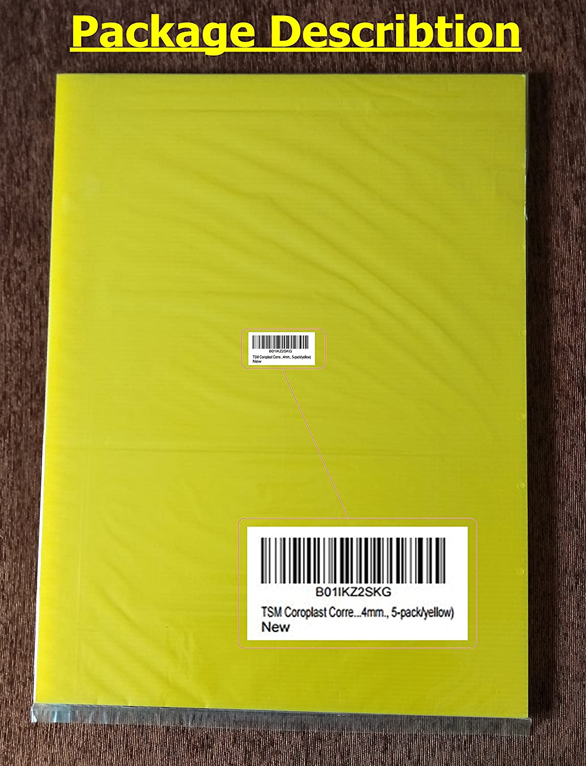 24x18x4mm., 5-pack//yellow TSM Coroplast Correx Poster Corrugated Plastics Sheets Sign Blank Board