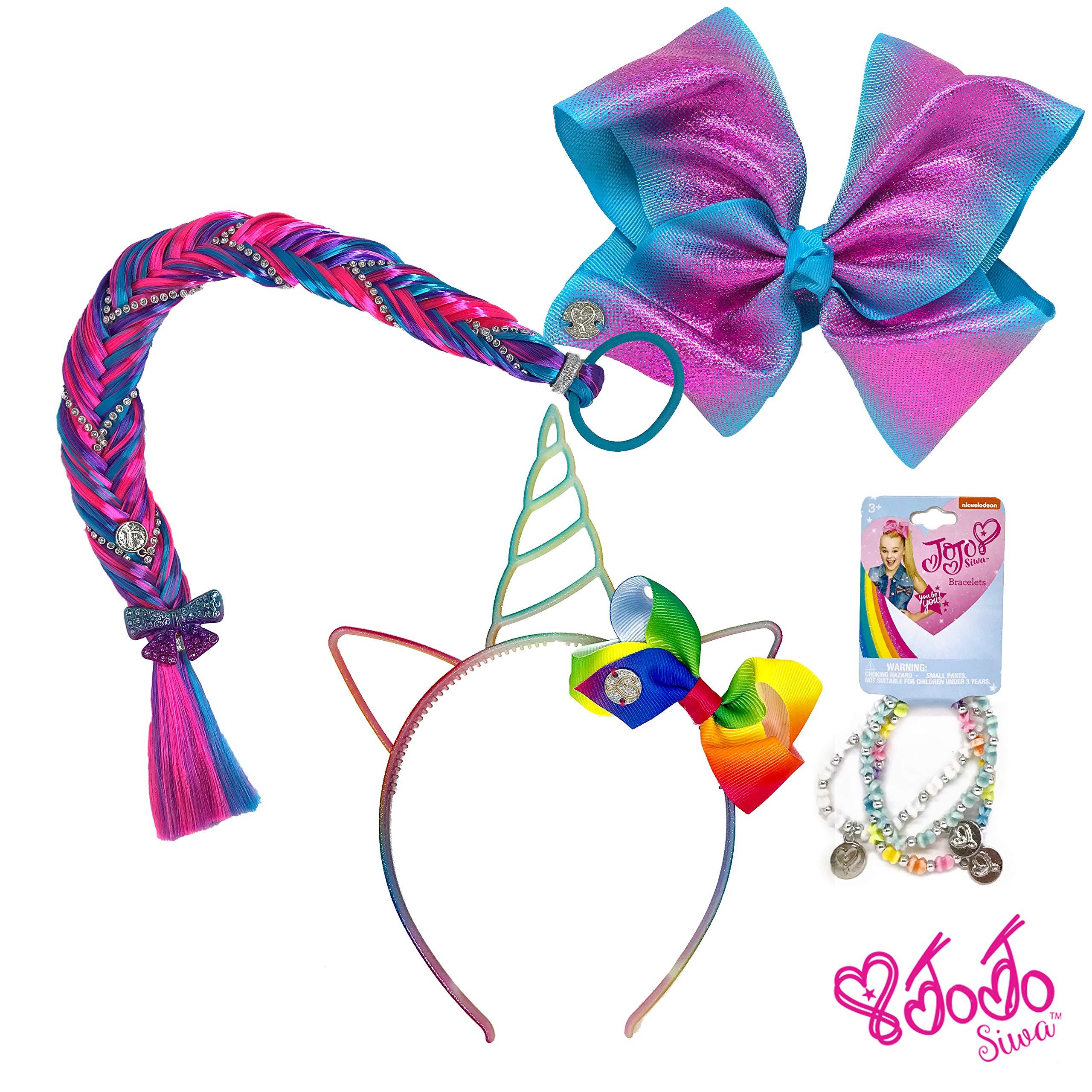 Jojo Siwa Girls Accessory Set, Bow Headband 3 Pack Bracelet and Hair Braid Bows Organizer - Purple Blue Rainbow