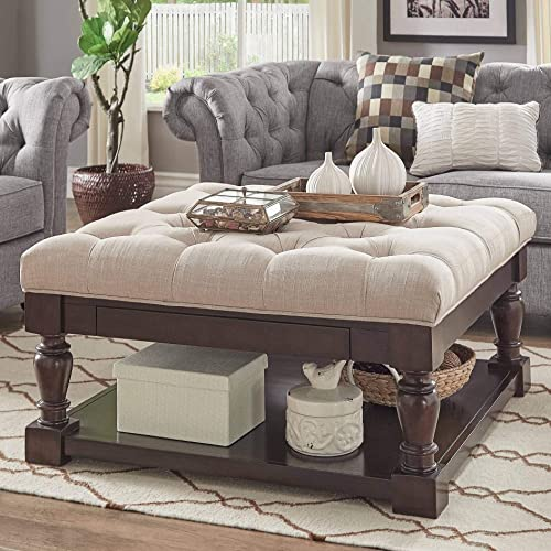Inspire Q Lennon Baluster Espresso Storage Ottoman Coffee Table by Classic Beige Linen Button Tufts N A Rubberwood, Fabric