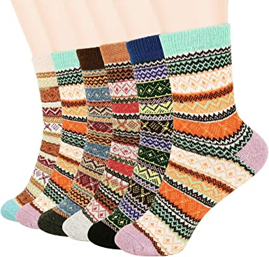 5 Pairs of Mixed Colors Feather Jacquard Autumn Winter Cotton Mens Socks